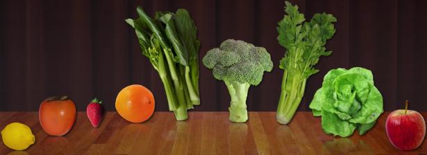 appels broccoli selder kakivruchten citroen
